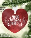 Heart Shaped Aluminum Christmas Ornament Mockup Template Add Etsy