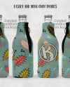 Bottle Hugger With Zipper Template Mockup With Front Back And Etsy