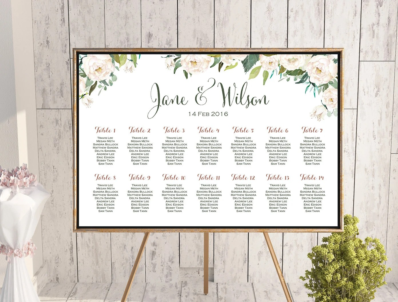 Wedding seating chart white ivory flower printable custom poster sign board th dd wc also invitation templates etsy au rh