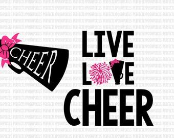 Download Live Love Cheer SVG Cheerleader Sports Megaphone Cricut ...