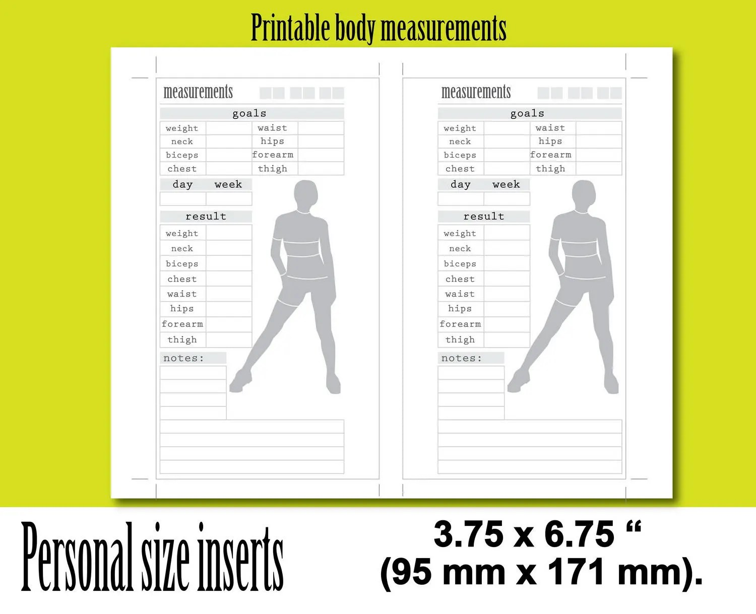 Weight loss tracker personal size planner inserts body measurementsweight measurement journal instant download also etsy rh