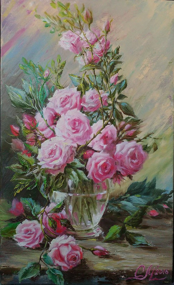 pink flower painting oil