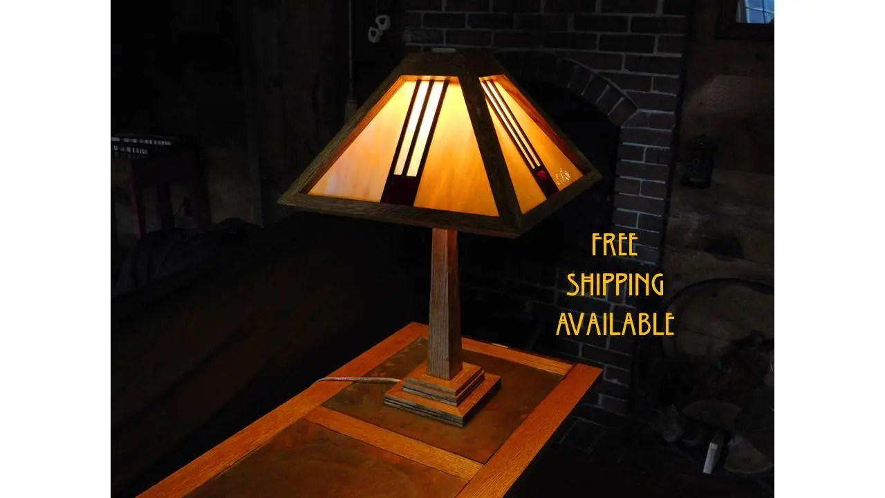 stained glass lamp arts and crafts mission style frank lloyd wright influenced traditional oak construction free shipping