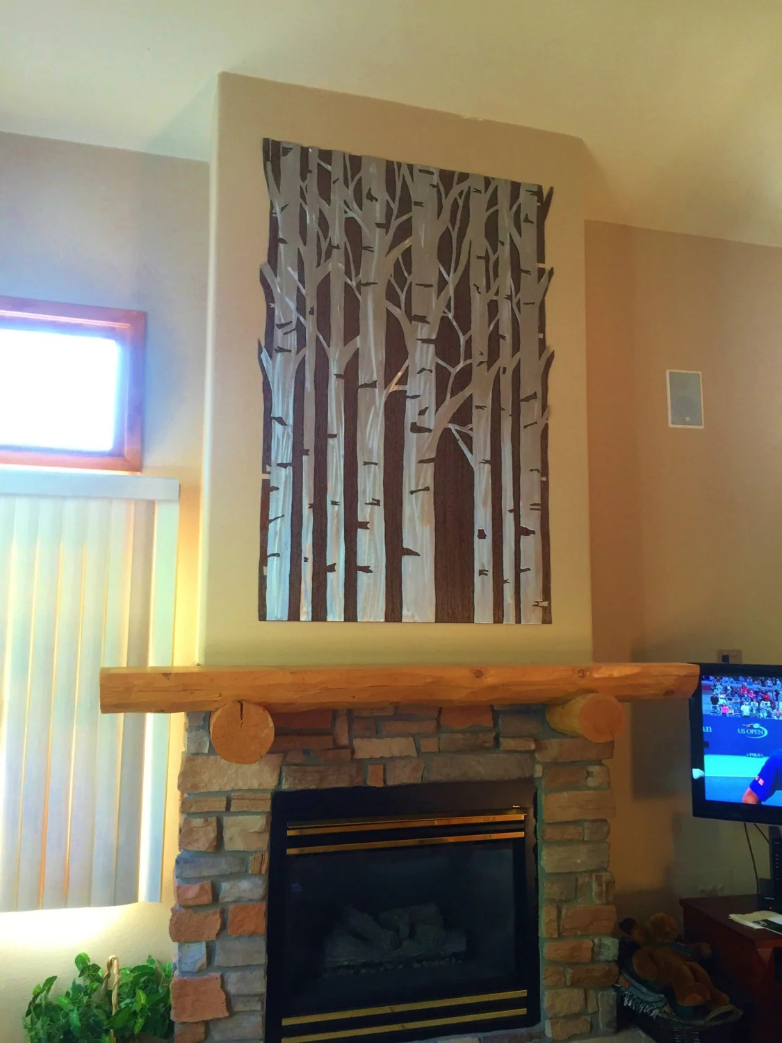 metal wall art decor for living room decorating ideas coffee tables extra large aspen trees above fireplace artwork nature lover gift ski cabin mountain resort