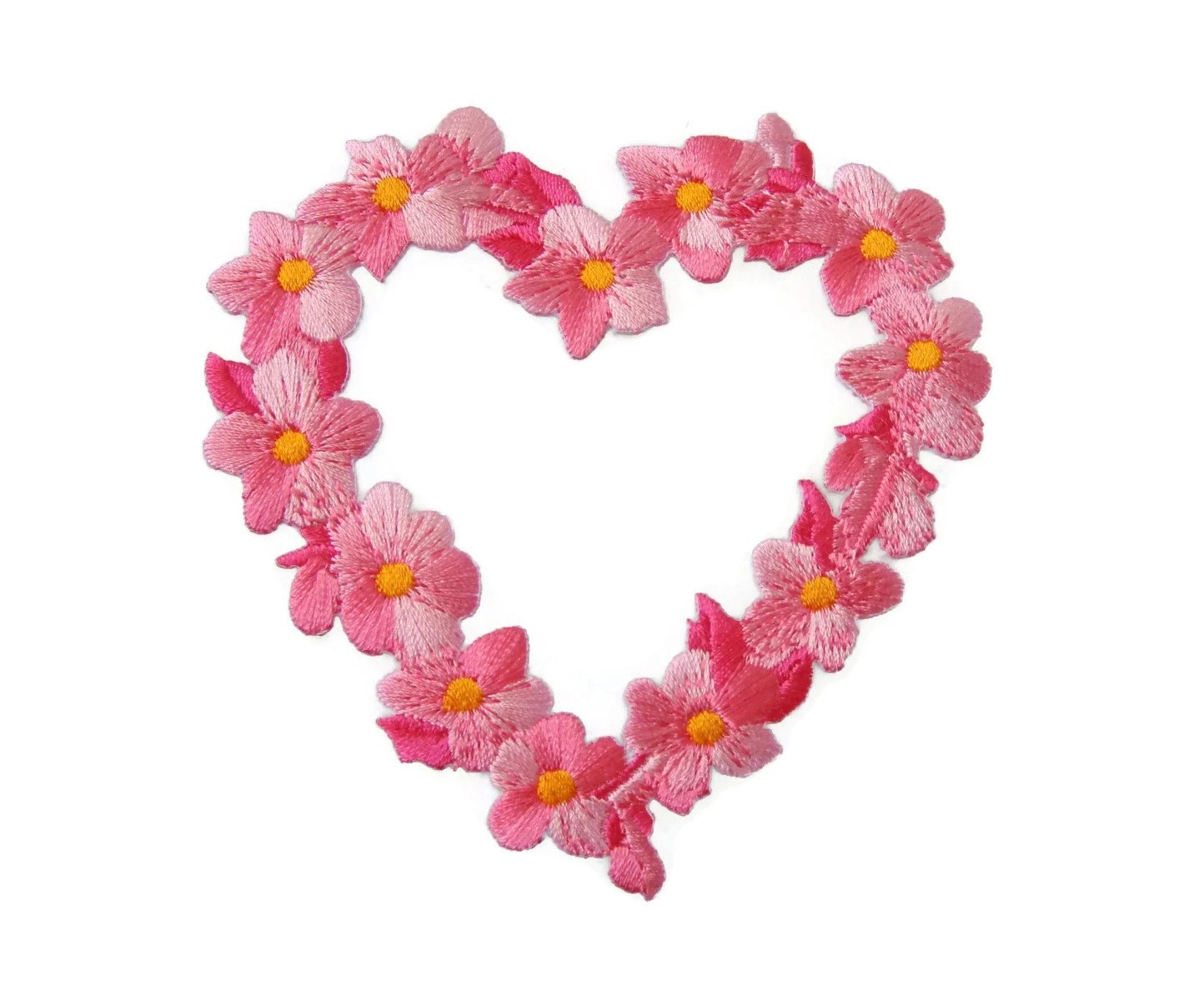 sweet heart flowers embroidered