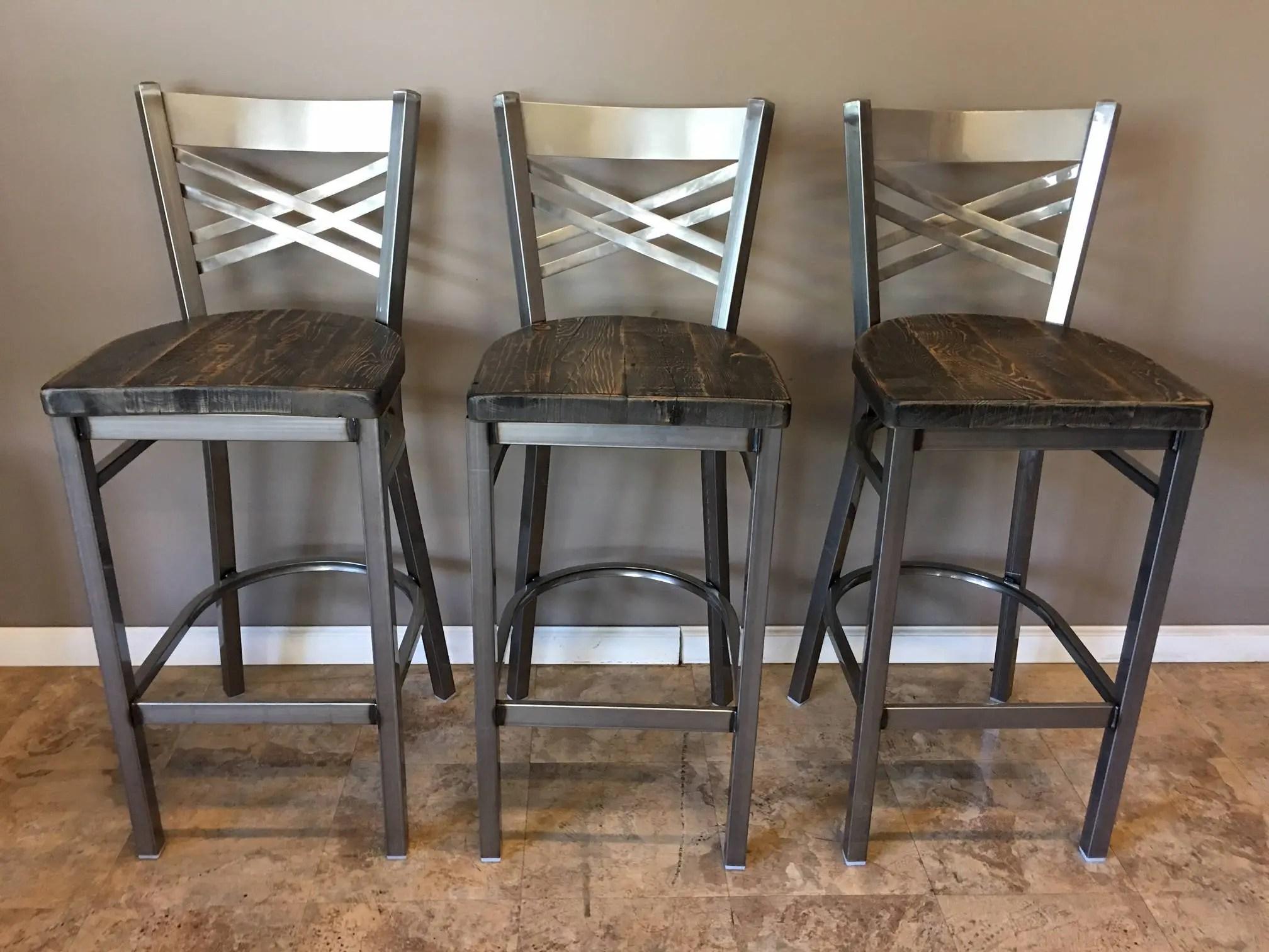 high bar stool chairs sunbrella lounge chair cushions reclaimed set of 3 in gun metal gray finish etsy 50