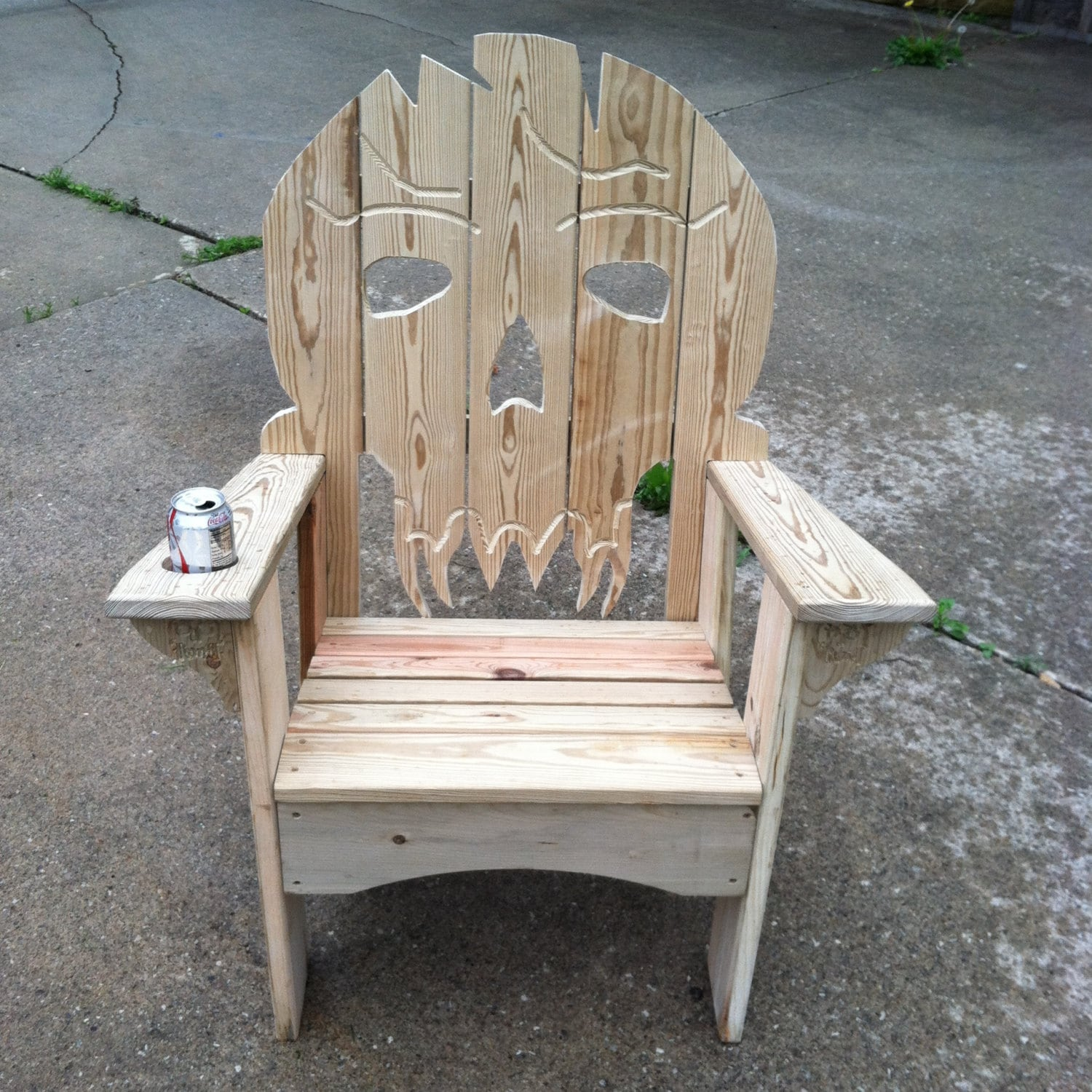wooden skull chair rattan glass table and chairs ultimate adirondack etsy 50