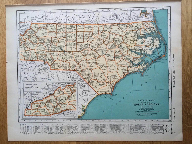 North Carolina Original Vintage Map 11 X 14 Inches