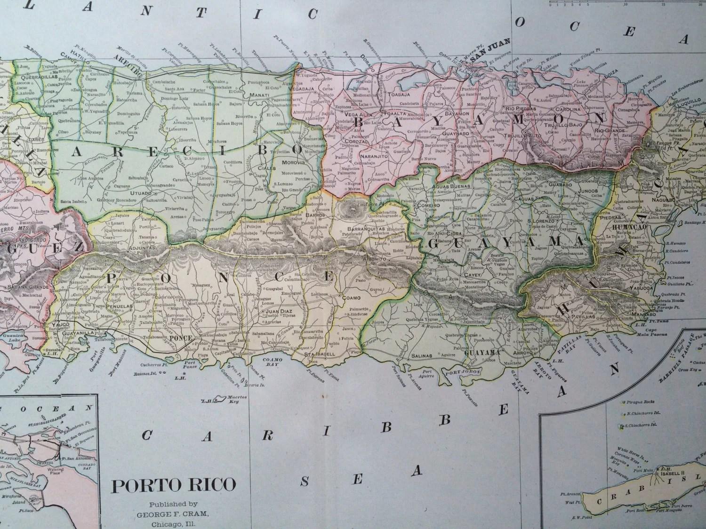 Puerto Rico Large Original Antique Map 22 5 X 14 5