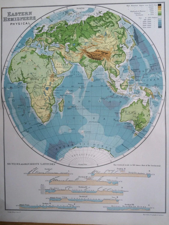 Eastern Hemisphere Pysical Original Antique Map C
