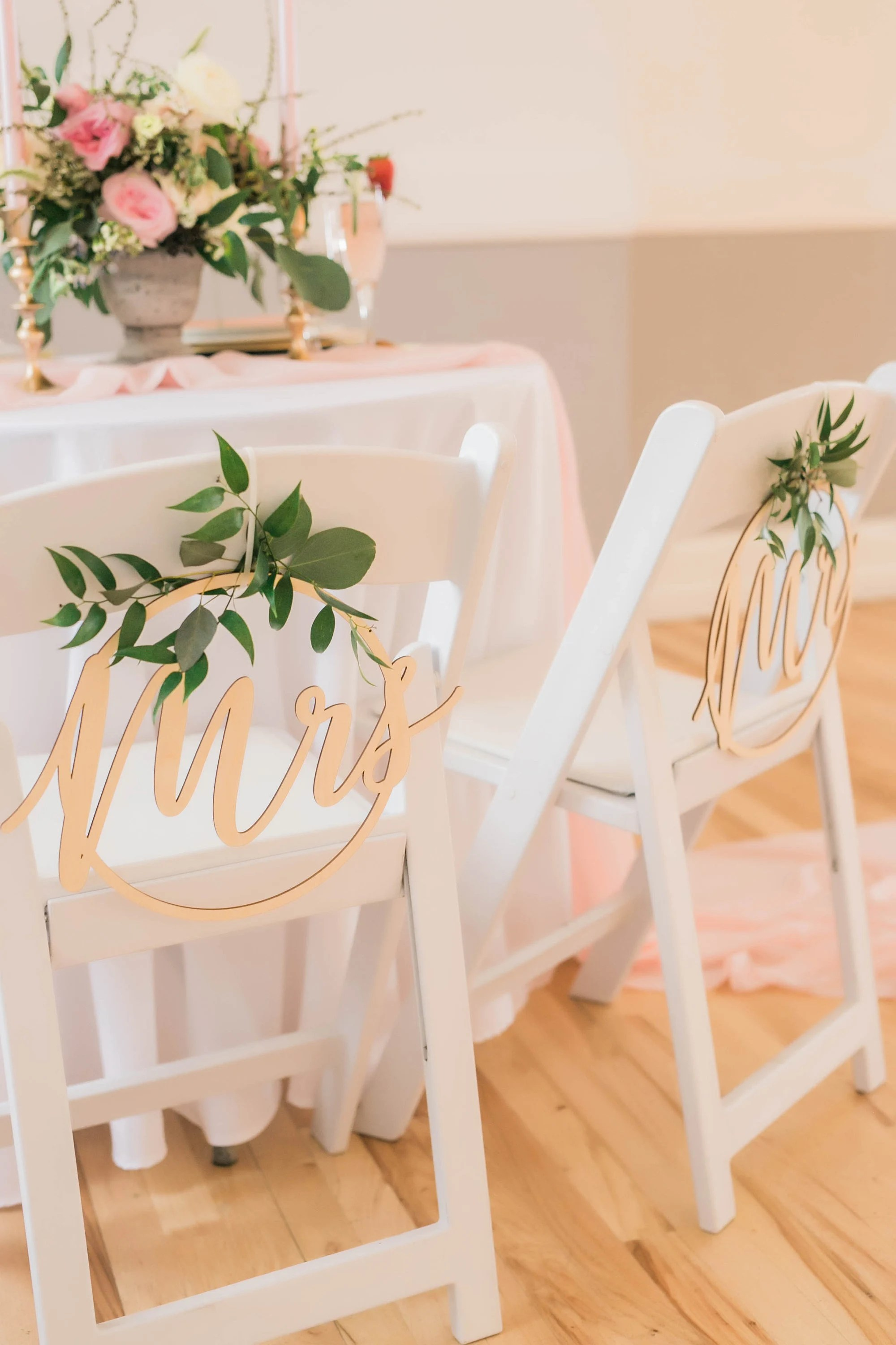 wedding bride and groom chairs round table with 5 chair signs etsy mr mrs circle sign back for of wooden