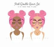 pink hair buns fashion girl clipart