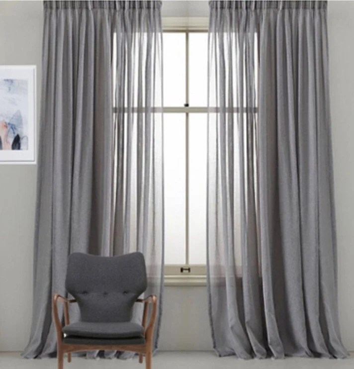 custom faux sheer linen drapery panels pinch pleat french pleat inverted pleat grommet top faux linen sheer curtains 9 colors