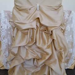 Champagne Banquet Chair Covers Sturdy Dining Chairs Wedding Ruffled Etsy Bustled Fancy Ruched