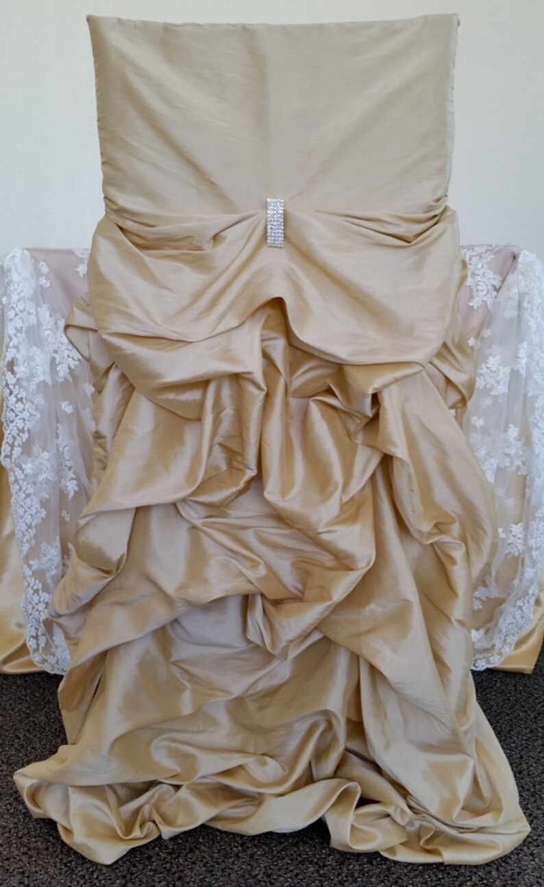 Champagne Chair Covers Champagne Wedding Chair Covers Ruffled Wedding Chair Covers Bustled Fancy Chair Covers Bustled Ruched Chair Covers