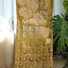 Gold Chair Covers To Rent Slipcover Wing Lattice With Floral Decoration Etsy Image 0