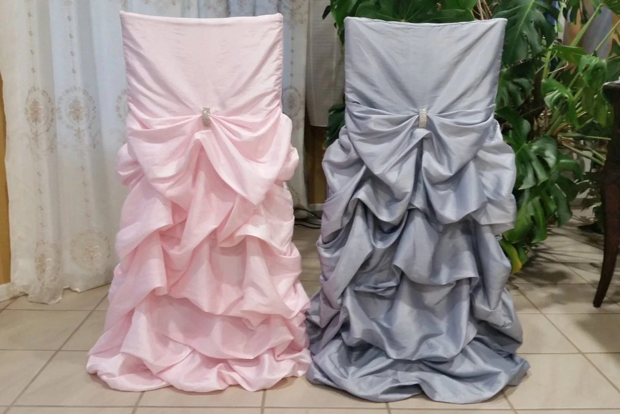 ruched chair covers wheel price in ksa ruffled wedding bustled fancy etsy