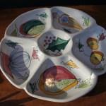 Mid Century Italian Ceramic Divided Antipasto Snack Platter Saladware