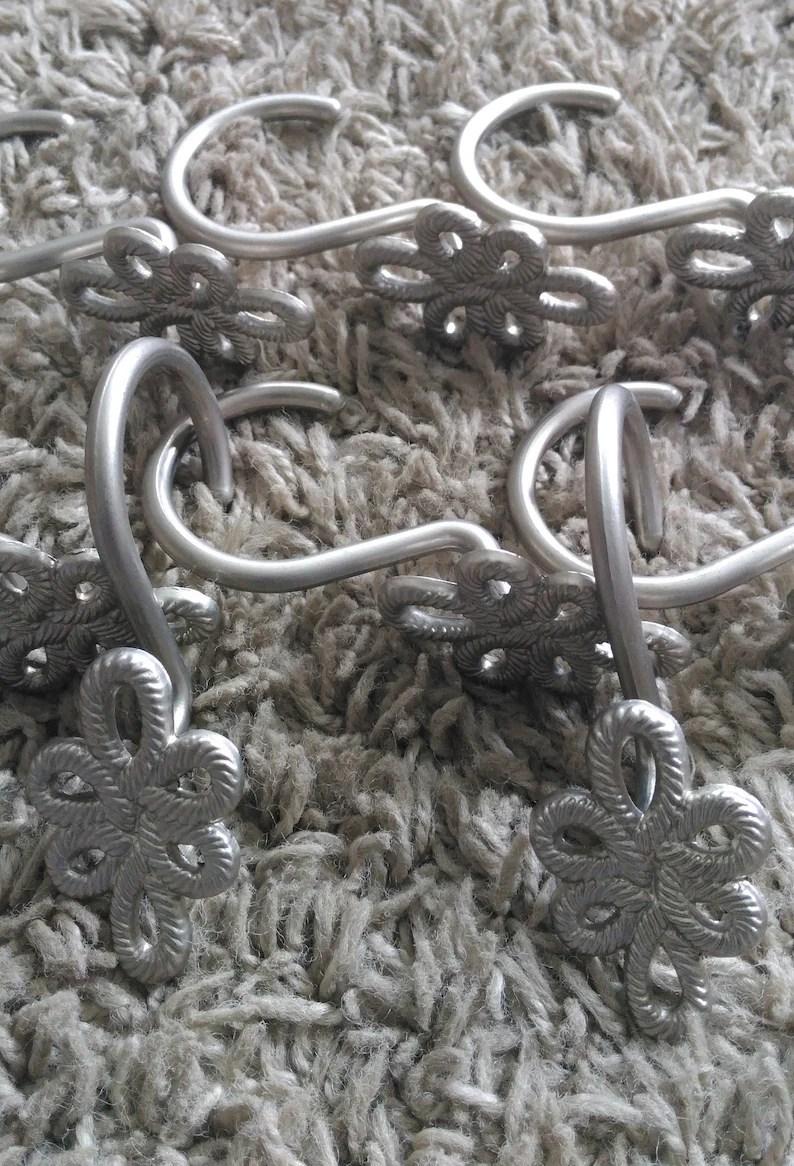 Silver Metal Rope Loop Shower Curtain Rings Set Of 11 Hooks J