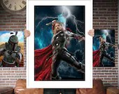 Thor - God Of Thunder - PRINTED  for the Big Boys Geek man cave nerds bedroom office kids nursery superhero marvel comics avengers
