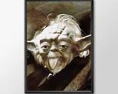 Star Wars Art - Alternative Universe Yoda Einstien  - PRINTED Boys and girls Geek man woman cave nerds bedroom office