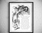 We're All Mad Here - Traditional Alice In Wonderland Art  - PRINTED Art bedroom office old style lounge kitchen home decor