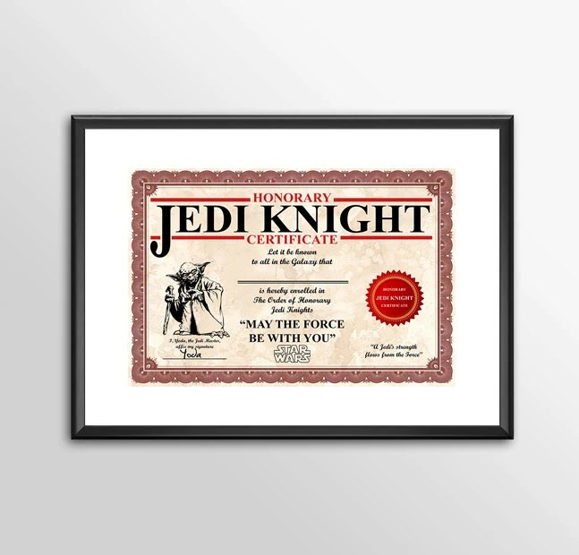Honorary Jedi Knight Certificate PERSONALISED - Star wars  PRINTED Classic kids bedroom office nursery old style lounge kitchen home decor