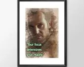 Star Wars Art - Qui-Gon Jinn - Your Focus determines your reality - PRINTED Boys girls Geek kids man cave nerds bedroom office