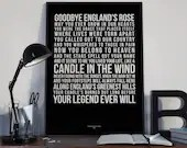 Candle In The Wind 1997 Princess Diana Tribute-  Lyrics Typography Elton John - PRINTED music Art bedroom office lounge home decor