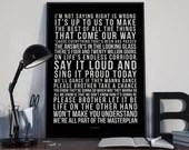 Masterplan -  Lyrics Typography Oasis Tribute - PRINTED music Art bedroom office lounge home decor