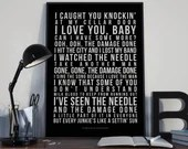 Needle and the damage done - Song Lyrics Typography Neil Young Tribute - PRINTED music Art bedroom office lounge home decor