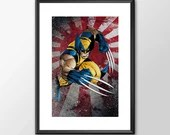 The Wolverine in Action - PRINTED comic book style for the Big Boys Geek man cave nerds bedroom office kids nursery superhero marvel comics