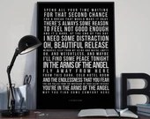 In The Arms Of An Angel - Song Lyrics Typography Sarah McLachlan  - PRINTED music Art bedroom office old style lounge kitchen home decor