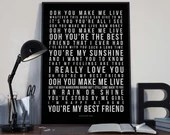 You're My Best Friend - Song Lyrics Typography Queen Freddie Mercury Tribute - PRINTED music Art bedroom office old style lounge home decor