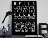 Comfortably Numb - Song Lyrics Typography Pink Floyd Tribute - PRINTED music Art bedroom office lounge home decor