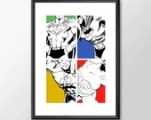 4x Dc Comics Superheros B&W version Batman Superman Wonder Woman Flash - PRINTED  Boys Geek kids man cave nerds bedroom office nursery