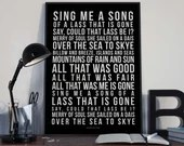 The Skye Boat Song - Song Lyrics Typography Outlander Tv Theme Tribute - PRINTED music Art bedroom office lounge home decor