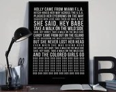 Take A Walk On The Wild Side - Song Lyrics Typography Lou Reed Tribute - PRINTED music Art bedroom office lounge home decor