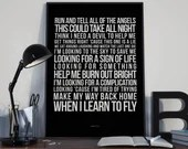Learn To Fly - Song Lyrics Typography Foo Fighters Tribute - PRINTED music Art bedroom office lounge home decor
