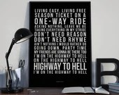 Highway to Hell - Song Lyrics Typography ACDC Tribute - PRINTED music Art bedroom office lounge home decor