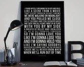 Like I'm Gonna Lose You - Song Lyrics Typography Meghan Trainor John Legend Tribute - PRINTED music Art bedroom office lounge home decor
