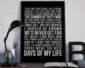 Summer Of 69 - Song Lyrics Typography Bryan Adams Tribute - PRINTED music Art bedroom office lounge home decor