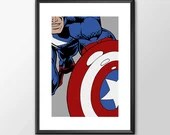 Captain America - PRINTED - Boys girls Geek man cave nerds bedroom office kids marvel comic superhero