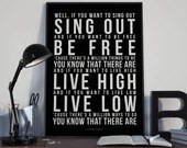 If You Want To Sing Out - Song Lyrics Typography Cat Stevens Harold and Maude Tribute - PRINTED music Art bedroom office lounge home decor