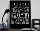 Marry Me - Song Lyrics Typography Train Tribute - PRINTED music Art bedroom office lounge home decor