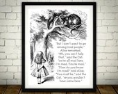 We're All Mad Here - Traditional Alice In Wonderland Art Classic kids bedroom office nursery old style lounge kitchen home decor