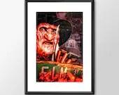 Freddy Kruger From A Nightmare On Elm Street - Movie Maniac  - PRINTED Boys Geek  man cave nerds bedroom office horror classic