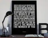 The Wonder Of You - Song Lyrics Typography Elvis Presely Tribute - PRINTED music Art bedroom office lounge home decor