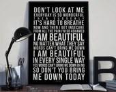 I am Beautiful - Song Lyrics Typography Christina Aguilera Tribute - PRINTED music Art bedroom office lounge home decor