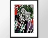 The Joker - PRINTED comic book style for the Big Boys Geek man cave nerds bedroom office kids superhero dc comics batman